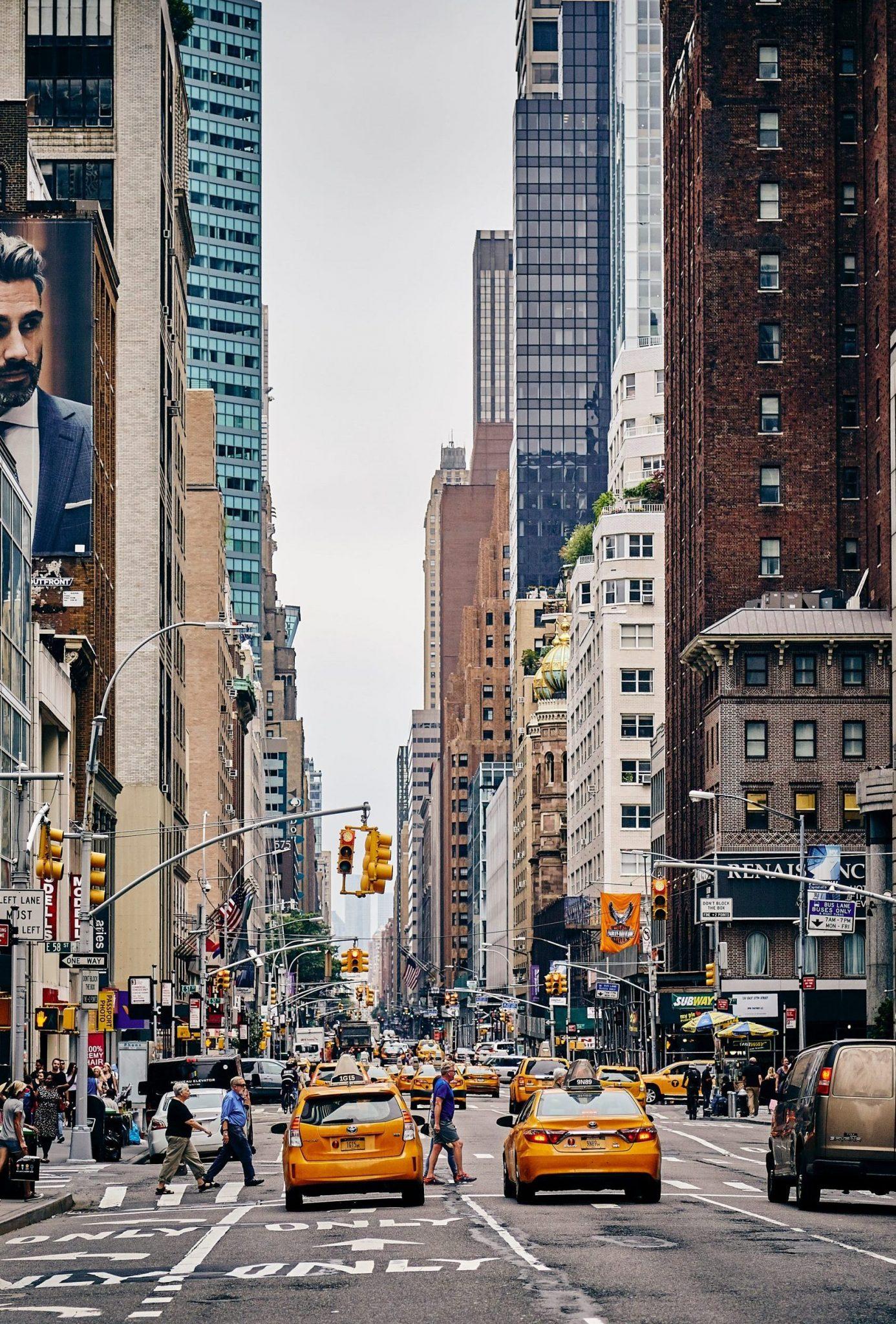 New York City bilar, vägar och skyskrapor