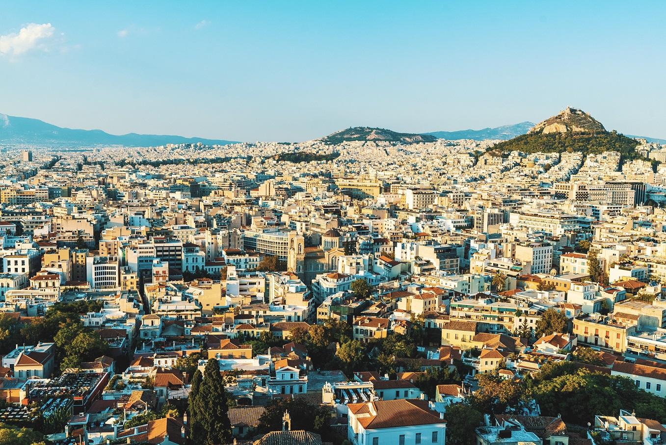 Vy över huvudstaden Aten, Grekland