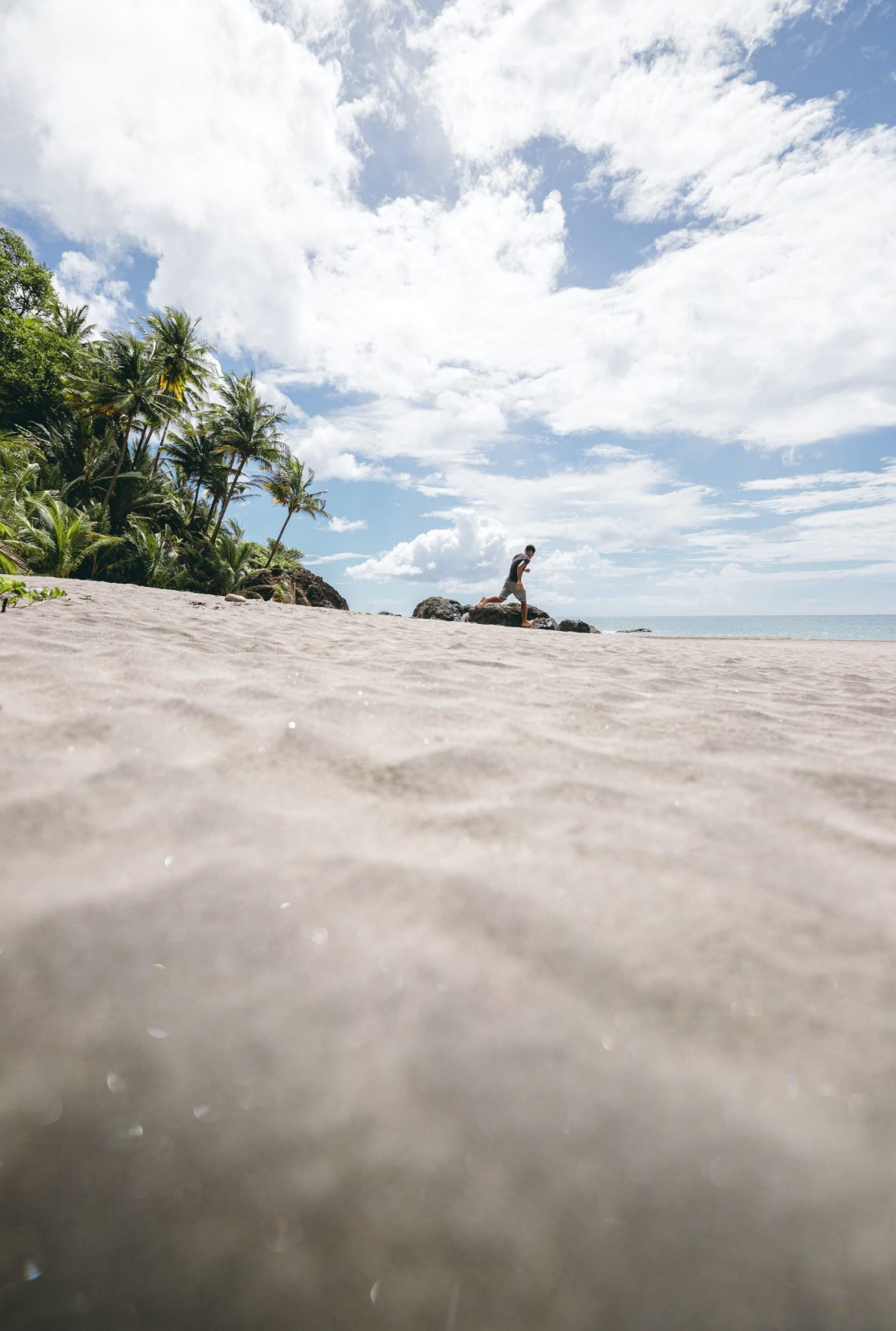 Glittrande vit sand på Martinique