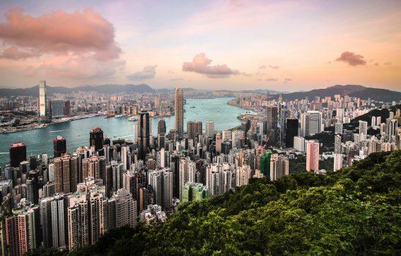 Vacker vy över Hongkong stad
