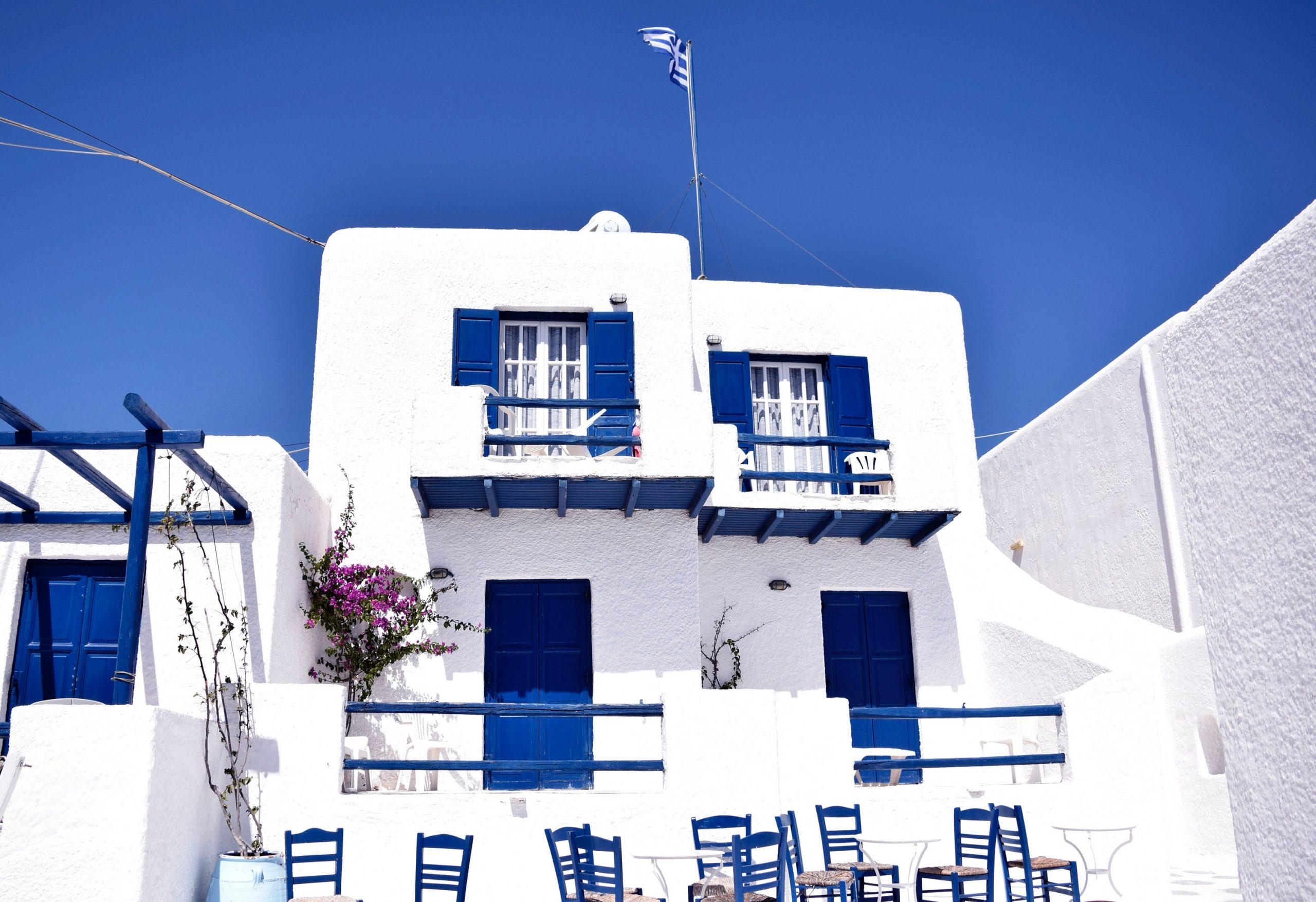 Blåvita hus i Mykonos