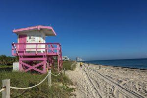 Livräddningshus på strand i Miami