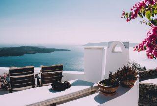 Vacker vy i Santorini