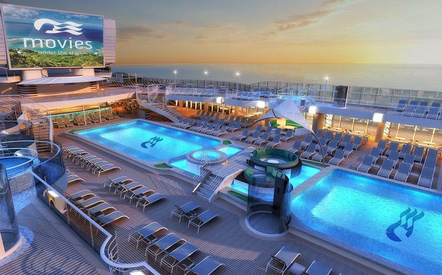 Vy över pooldäck ombord Princess Cruises kryssningsfartyg
