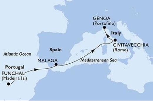 Karta kryssningsrutt Lissabon Madeira