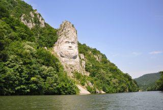 Decebal's head vid Järnporten, Rumänien
